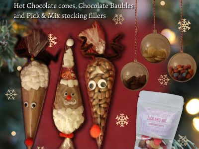 Hot Chocolate cones, Tree Baubles and Pick & Mix stocking fillers